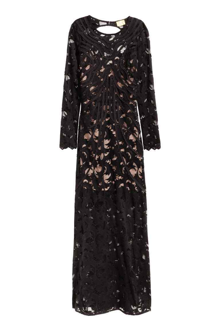 Lace Maxi Dress - style: ballgown; neckline: round neck; fit: fitted at waist; length: ankle length; back detail: back revealing; predominant colour: black; occasions: evening, occasion; fibres: polyester/polyamide - mix; sleeve length: long sleeve; sleeve style: standard; texture group: lace; pattern type: fabric; pattern: patterned/print; season: a/w 2016; wardrobe: event