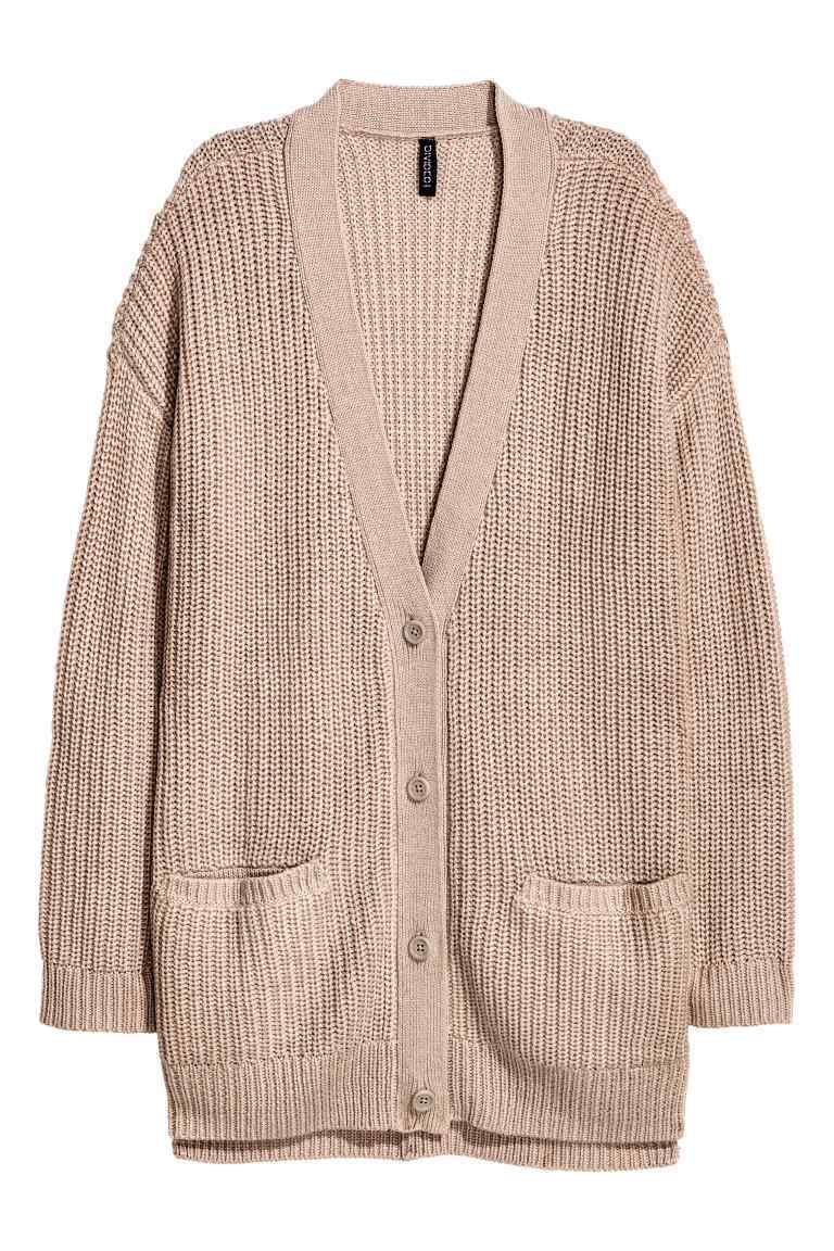 Chunky Knit Cardigan - neckline: low v-neck; pattern: plain; length: below the bottom; predominant colour: blush; occasions: casual; style: standard; fibres: acrylic - 100%; fit: loose; sleeve length: long sleeve; sleeve style: standard; texture group: knits/crochet; pattern type: knitted - big stitch; wardrobe: basic; season: a/w 2016