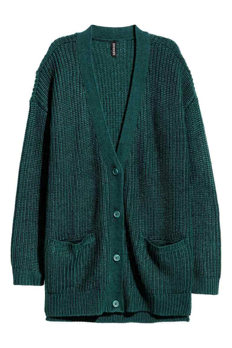 Chunky Knit Cardigan - neckline: low v-neck; pattern: plain; predominant colour: teal; occasions: casual, work, creative work; style: standard; fibres: acrylic - 100%; fit: loose; length: mid thigh; hip detail: subtle/flattering hip detail; sleeve length: long sleeve; sleeve style: standard; texture group: knits/crochet; pattern type: knitted - fine stitch; season: a/w 2016; wardrobe: highlight