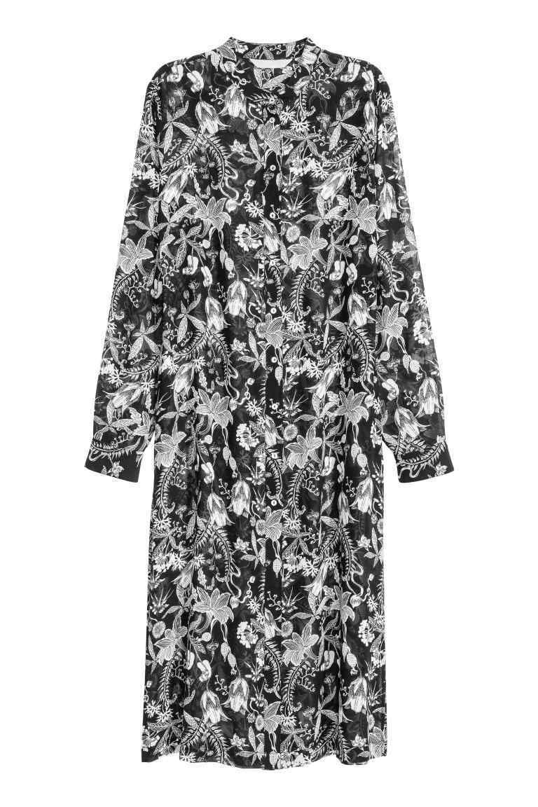 Patterned Shirt Dress - style: shirt; length: below the knee; neckline: shirt collar/peter pan/zip with opening; secondary colour: white; predominant colour: black; occasions: casual; fit: straight cut; fibres: polyester/polyamide - 100%; sleeve length: long sleeve; sleeve style: standard; texture group: cotton feel fabrics; pattern type: fabric; pattern size: big & busy; pattern: patterned/print; season: a/w 2016; wardrobe: highlight