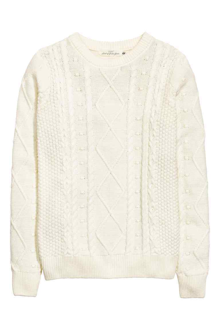 Knitted Jumper - style: standard; pattern: cable knit; predominant colour: ivory/cream; occasions: casual, creative work; length: standard; fibres: cotton - mix; fit: standard fit; neckline: crew; sleeve length: long sleeve; sleeve style: standard; texture group: knits/crochet; pattern type: knitted - other; pattern size: standard; season: a/w 2016; wardrobe: highlight