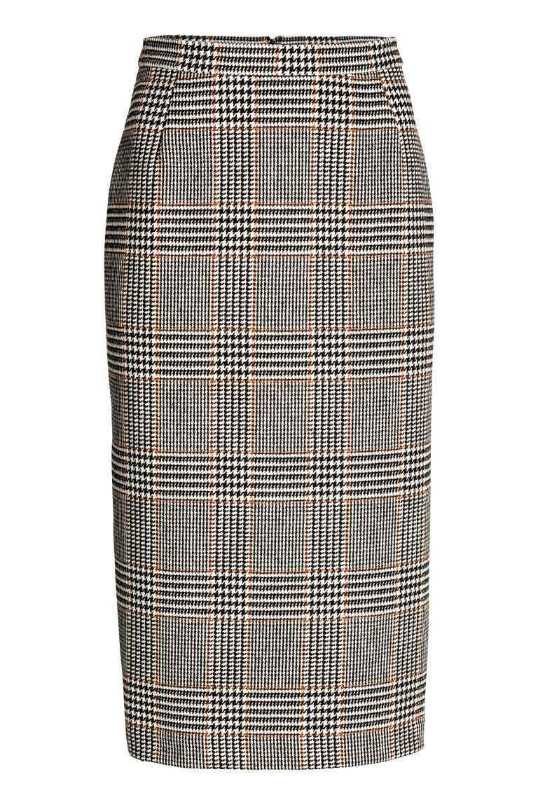 Skirt In A Wool Blend - pattern: checked/gingham; fit: body skimming; waist: high rise; secondary colour: white; predominant colour: black; occasions: work; length: on the knee; style: a-line; fibres: cotton - mix; pattern type: fabric; texture group: woven light midweight; pattern size: light/subtle (bottom); season: a/w 2016; wardrobe: highlight