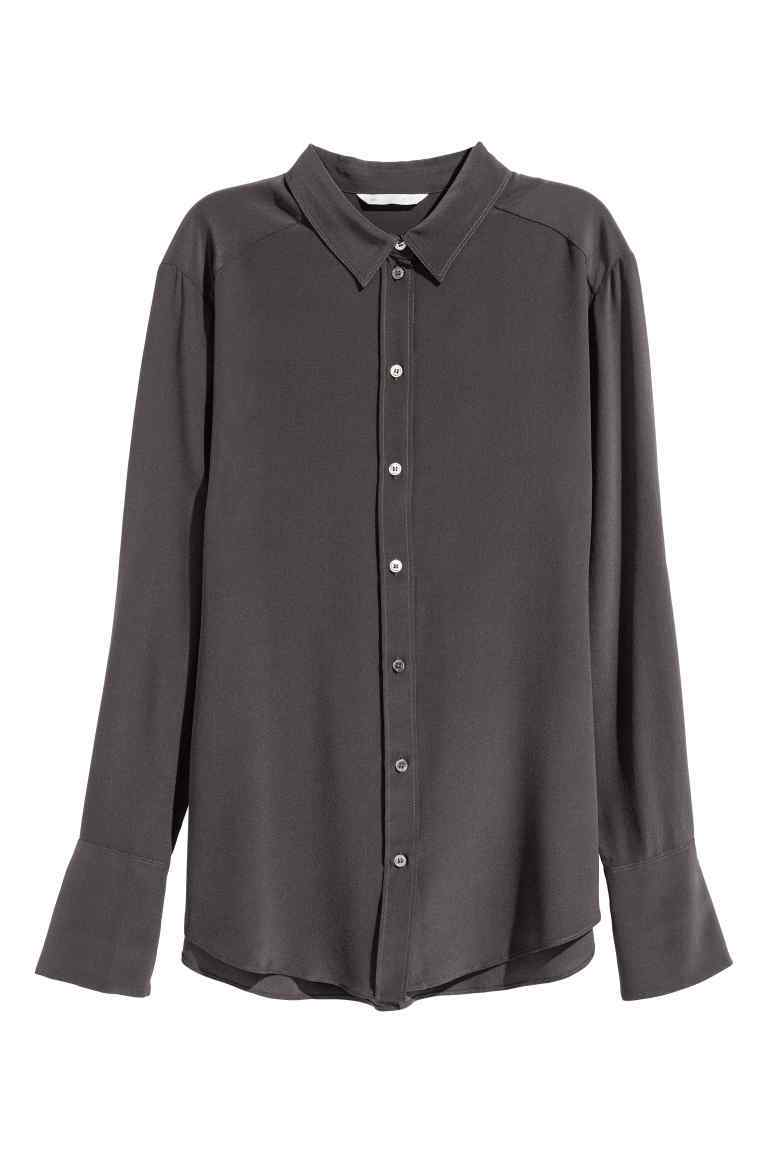 Silk Shirt - neckline: shirt collar/peter pan/zip with opening; pattern: plain; style: shirt; predominant colour: charcoal; occasions: casual, work, creative work; length: standard; fibres: silk - 100%; fit: body skimming; sleeve length: long sleeve; sleeve style: standard; texture group: silky - light; pattern type: fabric; wardrobe: basic; season: a/w 2016