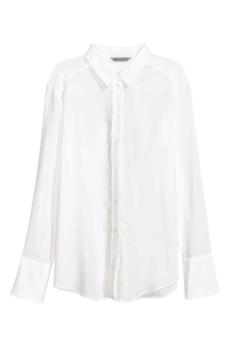 Silk Shirt - neckline: shirt collar/peter pan/zip with opening; pattern: plain; style: shirt; predominant colour: white; occasions: work; length: standard; fibres: silk - 100%; fit: body skimming; sleeve length: long sleeve; sleeve style: standard; texture group: silky - light; pattern type: fabric; wardrobe: basic; season: a/w 2016