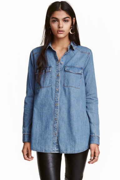 Denim Shirt - neckline: shirt collar/peter pan/zip with opening; pattern: plain; style: shirt; predominant colour: denim; occasions: casual; length: standard; fibres: cotton - mix; fit: body skimming; sleeve length: long sleeve; sleeve style: standard; texture group: denim; pattern type: fabric; wardrobe: basic; season: a/w 2016