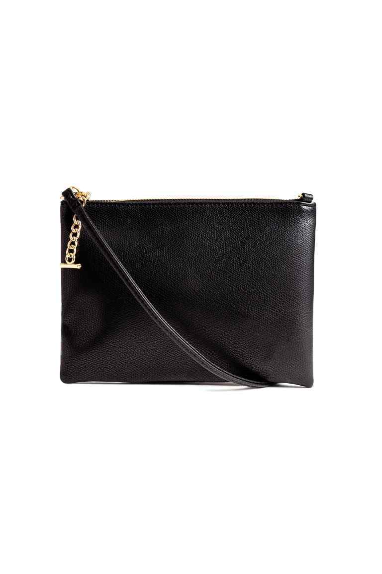 Small Shoulder Bag - predominant colour: black; occasions: evening; type of pattern: standard; style: clutch; length: across body/long; size: standard; material: faux leather; pattern: plain; finish: plain; embellishment: chain/metal; season: a/w 2016; wardrobe: event
