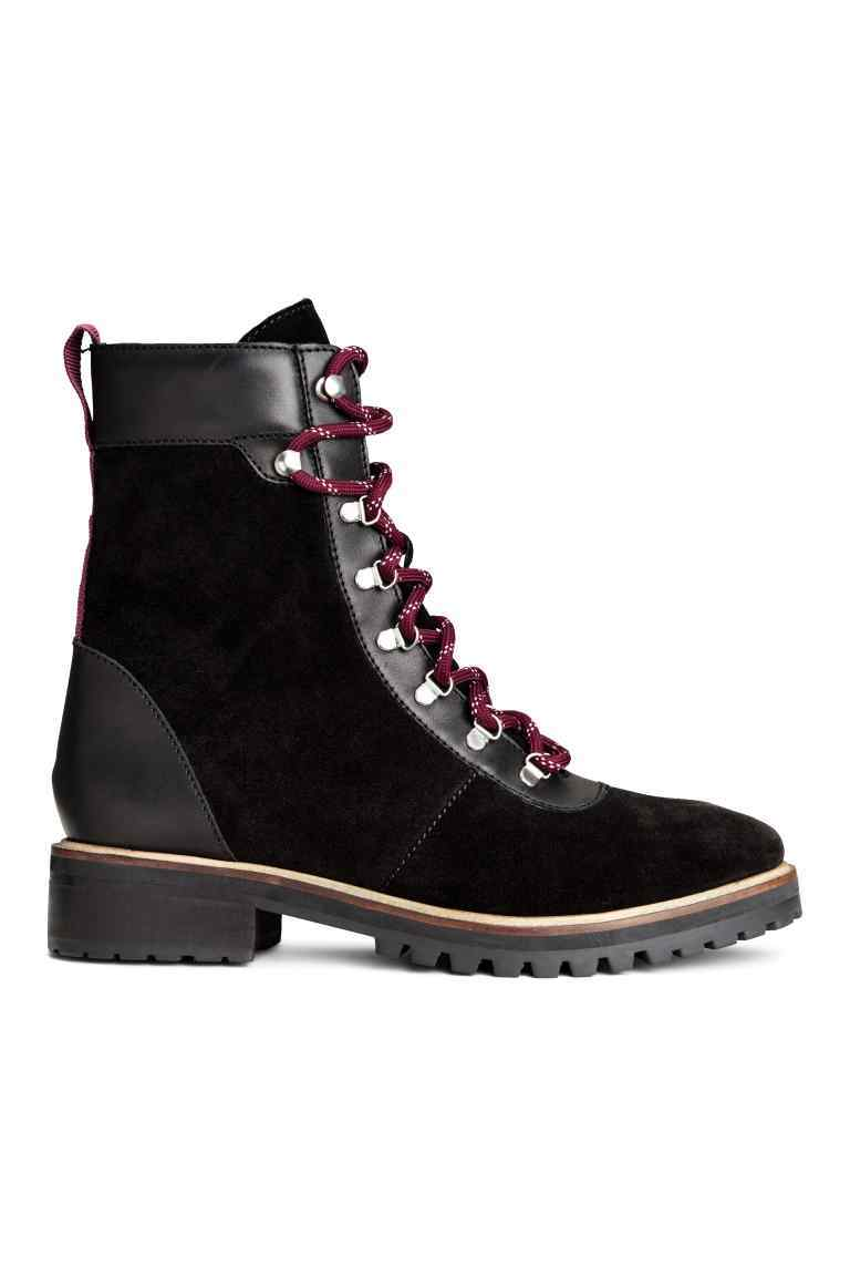 Suede Boots - predominant colour: black; occasions: casual; material: suede; heel height: flat; heel: standard; toe: round toe; boot length: ankle boot; style: standard; finish: plain; pattern: plain; season: a/w 2016