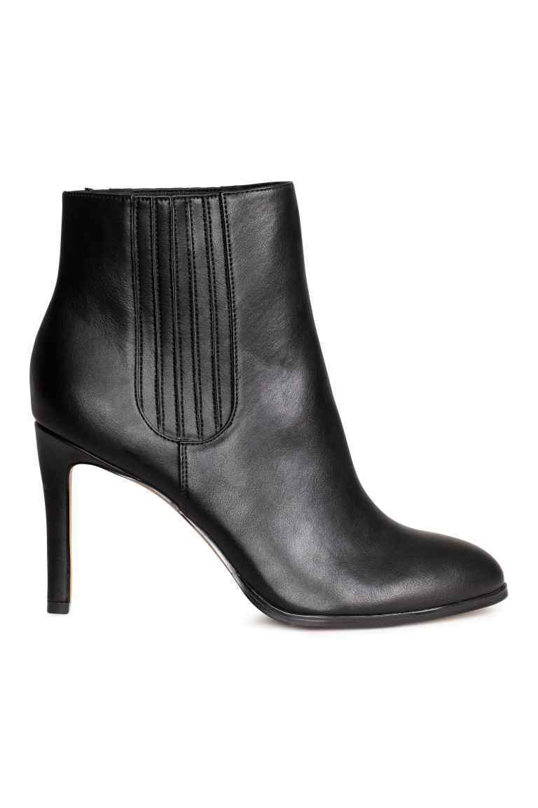 Ankle Boots - predominant colour: black; occasions: casual; material: faux leather; heel height: high; heel: stiletto; toe: round toe; boot length: ankle boot; style: standard; finish: plain; pattern: plain; season: a/w 2016