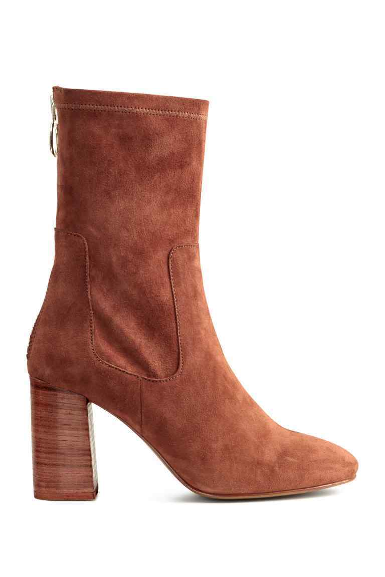 Suede Boots - predominant colour: tan; occasions: casual, creative work; material: suede; heel height: high; heel: block; toe: round toe; boot length: ankle boot; style: standard; finish: plain; pattern: plain; season: a/w 2016