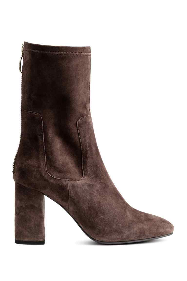 Suede Boots - predominant colour: chocolate brown; occasions: casual, creative work; material: suede; heel height: high; heel: block; toe: round toe; boot length: ankle boot; style: standard; finish: plain; pattern: plain; season: a/w 2016; wardrobe: highlight