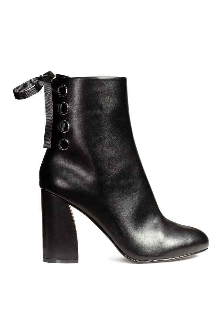 Ankle Boots With Lacing - predominant colour: black; occasions: casual, creative work; material: faux leather; heel height: high; heel: block; toe: round toe; boot length: ankle boot; style: standard; finish: plain; pattern: plain; season: a/w 2016; wardrobe: highlight