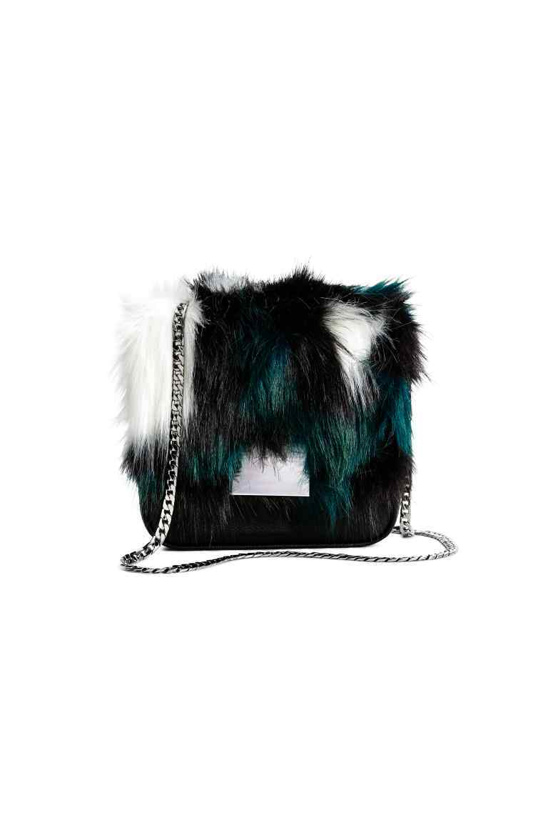 Small Shoulder Bag - secondary colour: teal; predominant colour: black; occasions: casual, creative work; type of pattern: light; style: shoulder; length: shoulder (tucks under arm); size: standard; material: fur; finish: plain; pattern: colourblock; embellishment: fur; season: a/w 2016; wardrobe: highlight