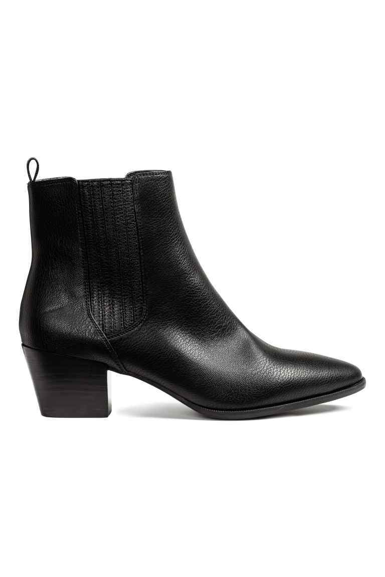 Ankle Boots - predominant colour: black; occasions: casual, creative work; material: faux leather; heel height: mid; heel: block; toe: pointed toe; boot length: ankle boot; finish: plain; pattern: plain; style: chelsea; wardrobe: basic; season: a/w 2016