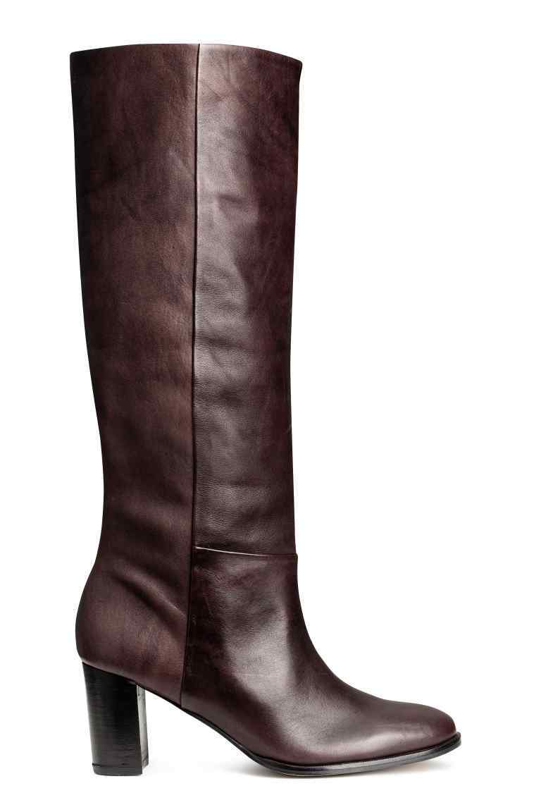 Leather Knee Boots - predominant colour: aubergine; occasions: casual, creative work; material: leather; heel height: high; heel: block; toe: round toe; boot length: knee; style: standard; finish: plain; pattern: plain; season: a/w 2016; wardrobe: highlight