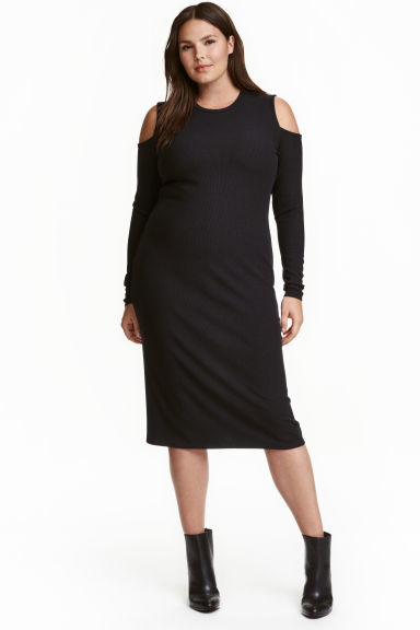 + Cold Shoulder Dress - style: shift; length: below the knee; neckline: round neck; pattern: plain; predominant colour: black; occasions: evening; fit: body skimming; fibres: polyester/polyamide - 100%; shoulder detail: cut out shoulder; sleeve length: long sleeve; sleeve style: standard; pattern type: fabric; texture group: jersey - stretchy/drapey; season: a/w 2016; wardrobe: event