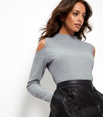 Grey Cold Shoulder Longline Top - pattern: plain; neckline: high neck; predominant colour: light grey; occasions: casual; length: standard; style: top; fibres: cotton - mix; fit: body skimming; shoulder detail: cut out shoulder; sleeve length: long sleeve; sleeve style: standard; texture group: knits/crochet; pattern type: knitted - other; season: a/w 2016; wardrobe: highlight
