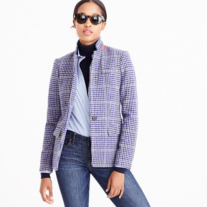 Regent Blazer In Purple Houndstooth - pattern: checked/gingham; style: single breasted blazer; collar: mandarin; secondary colour: charcoal; predominant colour: light grey; occasions: casual, creative work; length: standard; fit: tailored/fitted; fibres: wool - 100%; sleeve length: long sleeve; sleeve style: standard; collar break: high; pattern type: fabric; texture group: woven light midweight; multicoloured: multicoloured; season: a/w 2016; wardrobe: highlight