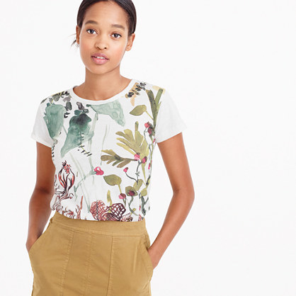 Fall Foliage T Shirt - style: t-shirt; predominant colour: white; secondary colour: light grey; occasions: casual; length: standard; fibres: cotton - 100%; fit: body skimming; neckline: crew; sleeve length: short sleeve; sleeve style: standard; pattern type: fabric; pattern: florals; texture group: jersey - stretchy/drapey; multicoloured: multicoloured; season: a/w 2016; wardrobe: highlight