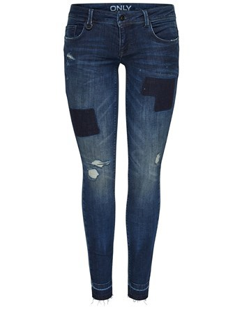 Patch Denim Jeans - style: skinny leg; length: standard; pattern: plain; waist: low rise; pocket detail: traditional 5 pocket; predominant colour: navy; occasions: casual; fibres: cotton - stretch; jeans detail: whiskering, washed/faded; texture group: denim; pattern type: fabric; wardrobe: basic; season: a/w 2016