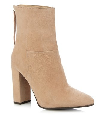 Ankle Block Heels - predominant colour: nude; occasions: casual; material: suede; heel height: high; heel: block; toe: pointed toe; boot length: ankle boot; style: standard; finish: plain; pattern: plain; season: a/w 2016; wardrobe: highlight