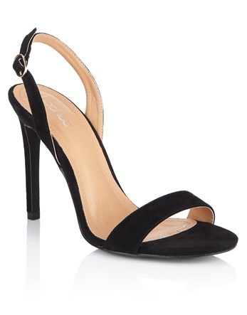 Slingback Two Part Sandals - predominant colour: black; occasions: evening; heel: stiletto; toe: open toe/peeptoe; style: standard; finish: plain; pattern: plain; heel height: very high; material: faux suede; season: a/w 2016; wardrobe: event