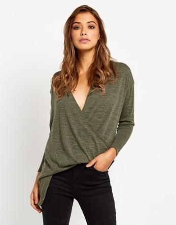 Wrap Over Jumper - neckline: low v-neck; pattern: plain; length: below the bottom; style: faux wrap/wrap; predominant colour: khaki; occasions: casual; fibres: polyester/polyamide - stretch; fit: standard fit; sleeve length: long sleeve; sleeve style: standard; pattern type: fabric; texture group: jersey - stretchy/drapey; season: a/w 2016; wardrobe: highlight