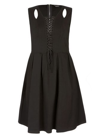 Black Lace Up Dress - neckline: round neck; pattern: plain; sleeve style: sleeveless; predominant colour: black; occasions: evening; length: just above the knee; fit: fitted at waist & bust; style: fit & flare; fibres: polyester/polyamide - stretch; hip detail: subtle/flattering hip detail; sleeve length: sleeveless; pattern type: fabric; texture group: jersey - stretchy/drapey; season: a/w 2016; wardrobe: event; embellishment location: bust