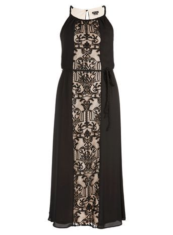 Black Maxi Dress - neckline: round neck; sleeve style: spaghetti straps; style: maxi dress; length: ankle length; waist detail: belted waist/tie at waist/drawstring; secondary colour: nude; predominant colour: black; occasions: evening; fit: body skimming; fibres: polyester/polyamide - 100%; hip detail: soft pleats at hip/draping at hip/flared at hip; sleeve length: sleeveless; texture group: sheer fabrics/chiffon/organza etc.; pattern type: fabric; pattern size: standard; pattern: patterned/print; season: a/w 2016; wardrobe: event