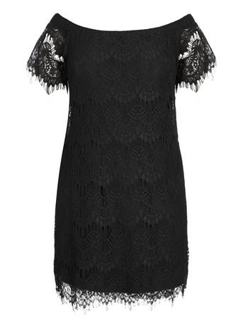 Black Off Shoulder Dress - style: shift; neckline: off the shoulder; predominant colour: black; occasions: evening, occasion; length: just above the knee; fit: body skimming; fibres: nylon - mix; sleeve length: short sleeve; sleeve style: standard; texture group: lace; pattern type: fabric; pattern size: standard; pattern: patterned/print; season: a/w 2016; wardrobe: event