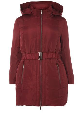 Wine Red Belted Padded Coat - pattern: plain; length: below the bottom; collar: funnel; back detail: hood; predominant colour: burgundy; occasions: casual; fit: straight cut (boxy); fibres: polyester/polyamide - 100%; waist detail: belted waist/tie at waist/drawstring; sleeve length: long sleeve; sleeve style: standard; collar break: high; pattern type: fabric; texture group: other - bulky/heavy; style: puffa; season: a/w 2016; wardrobe: highlight
