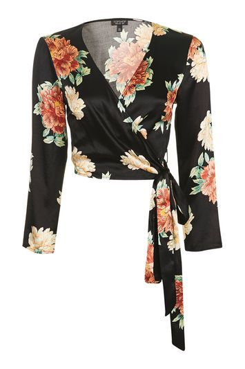 Floral Satin Wrap Top - neckline: v-neck; pattern: plain; style: wrap/faux wrap; waist detail: belted waist/tie at waist/drawstring; secondary colour: bright orange; predominant colour: black; occasions: casual; length: standard; fibres: polyester/polyamide - 100%; fit: body skimming; sleeve length: 3/4 length; sleeve style: standard; pattern type: fabric; pattern size: standard; texture group: jersey - stretchy/drapey; season: a/w 2016; wardrobe: highlight
