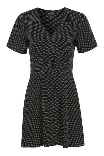 Pinspot Tea Dress - style: tea dress; neckline: v-neck; pattern: polka dot; secondary colour: white; predominant colour: navy; occasions: casual; length: just above the knee; fit: fitted at waist & bust; fibres: polyester/polyamide - 100%; sleeve length: short sleeve; sleeve style: standard; pattern type: fabric; texture group: jersey - stretchy/drapey; multicoloured: multicoloured; trends: pretty girl; season: a/w 2016; wardrobe: highlight