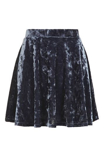 Velvet Flippy Skirt - length: mini; pattern: plain; fit: loose/voluminous; waist: mid/regular rise; predominant colour: charcoal; occasions: casual; style: mini skirt; fibres: polyester/polyamide - stretch; pattern type: fabric; texture group: velvet/fabrics with pile; season: a/w 2016; wardrobe: highlight; trends: velvet