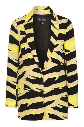 Tiger Print Blazer - style: single breasted blazer; length: below the bottom; collar: standard lapel/rever collar; predominant colour: primrose yellow; secondary colour: black; occasions: casual, creative work; fit: straight cut (boxy); fibres: polyester/polyamide - stretch; sleeve length: long sleeve; sleeve style: standard; collar break: medium; pattern type: fabric; pattern size: light/subtle; pattern: animal print; texture group: woven light midweight; season: a/w 2016; wardrobe: highlight