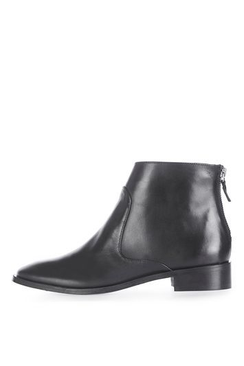 Kool Back Zip Boots - predominant colour: black; occasions: casual, creative work; material: leather; heel height: flat; heel: block; toe: pointed toe; boot length: ankle boot; style: standard; finish: plain; pattern: animal print; season: a/w 2016; wardrobe: highlight