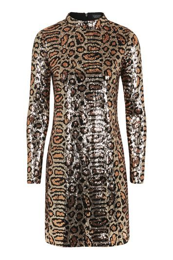Animal Print High Neck Dress - style: shift; length: mid thigh; fit: tailored/fitted; neckline: high neck; predominant colour: gold; secondary colour: black; occasions: evening; fibres: polyester/polyamide - 100%; sleeve length: long sleeve; sleeve style: standard; pattern type: fabric; pattern size: standard; pattern: animal print; texture group: other - light to midweight; trends: glossy girl, metallics; season: a/w 2016; wardrobe: event
