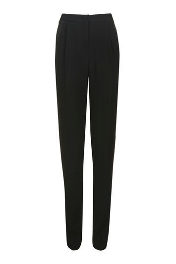 Satin Panel Tapered Trousers - length: standard; pattern: plain; style: peg leg; waist: mid/regular rise; predominant colour: black; occasions: casual, creative work; fibres: polyester/polyamide - 100%; fit: tapered; pattern type: fabric; texture group: woven light midweight; wardrobe: basic; season: a/w 2016