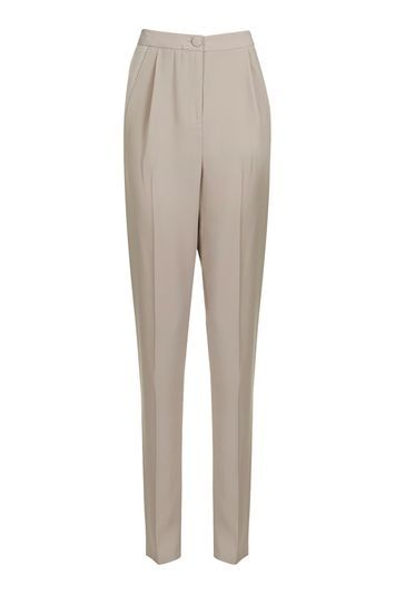 Satin Panel Tapered Trousers - length: standard; pattern: plain; style: peg leg; waist: mid/regular rise; predominant colour: stone; occasions: casual, creative work; fibres: polyester/polyamide - 100%; fit: tapered; pattern type: fabric; texture group: woven light midweight; pattern size: standard (bottom); wardrobe: basic; season: a/w 2016