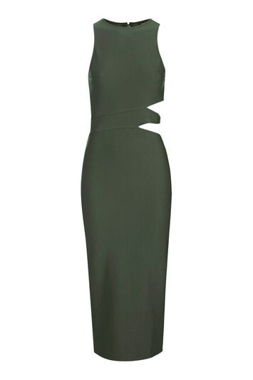 Two Cut Out Side Midi Dress - style: shift; length: below the knee; neckline: round neck; pattern: plain; sleeve style: sleeveless; predominant colour: dark green; occasions: evening; fit: body skimming; fibres: polyester/polyamide - stretch; waist detail: cut out detail; sleeve length: sleeveless; pattern type: fabric; texture group: jersey - stretchy/drapey; trends: glossy girl; season: a/w 2016; wardrobe: event
