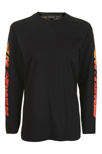 Flame Arm Graphic T Shirt - length: below the bottom; style: t-shirt; secondary colour: bright orange; predominant colour: black; occasions: casual, creative work; fibres: cotton - 100%; fit: loose; neckline: crew; sleeve length: long sleeve; sleeve style: standard; pattern type: fabric; pattern size: standard; texture group: jersey - stretchy/drapey; pattern: graphic/slogan; season: a/w 2016; wardrobe: highlight