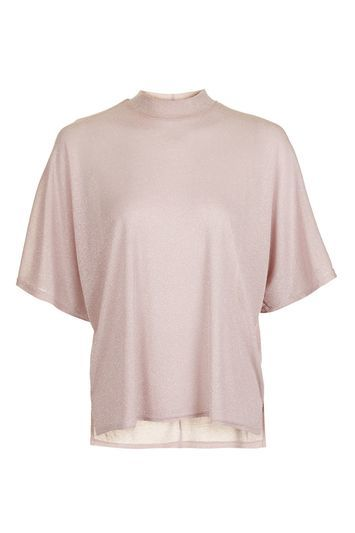 Metallic Batwing T Shirt - sleeve style: dolman/batwing; pattern: plain; neckline: high neck; length: below the bottom; predominant colour: pink; occasions: casual, creative work; style: top; fit: loose; sleeve length: half sleeve; pattern type: fabric; texture group: jersey - stretchy/drapey; fibres: viscose/rayon - mix; season: a/w 2016; wardrobe: highlight
