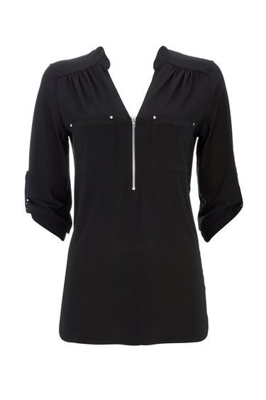 Black Jersey Zip Shirt - pattern: plain; style: blouse; predominant colour: black; occasions: casual, creative work; length: standard; neckline: collarstand & mandarin with v-neck; fibres: polyester/polyamide - stretch; fit: body skimming; sleeve length: 3/4 length; sleeve style: standard; texture group: jersey - clingy; pattern type: fabric; season: a/w 2016