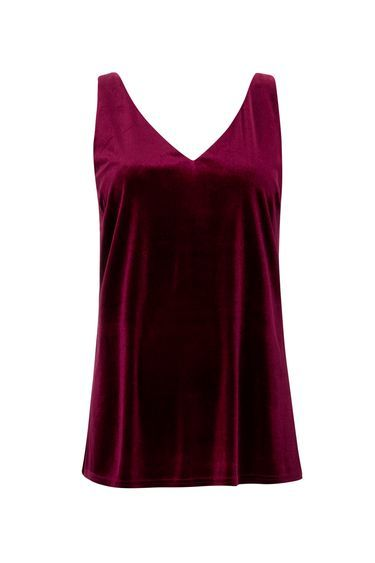Berry Velvet Camisole Top - neckline: low v-neck; sleeve style: standard vest straps/shoulder straps; pattern: plain; style: vest top; predominant colour: burgundy; occasions: evening, creative work; length: standard; fibres: polyester/polyamide - stretch; fit: loose; sleeve length: sleeveless; pattern type: fabric; texture group: velvet/fabrics with pile; season: a/w 2016; wardrobe: highlight; trends: velvet