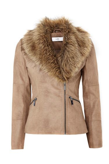 Petite Stone Faux Fur Biker Jacket - pattern: plain; length: standard; collar: asymmetric biker; predominant colour: camel; occasions: casual, creative work; fit: tailored/fitted; sleeve length: long sleeve; sleeve style: standard; texture group: leather; collar break: high/illusion of break when open; pattern type: fabric; embellishment: fur; fibres: pvc/polyurethene - 100%; style: biker; season: a/w 2016; wardrobe: highlight; embellishment location: bust, neck