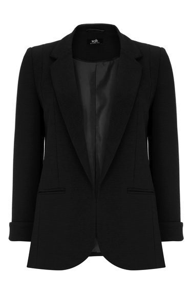 Black Ribbed Blazer Jacket - pattern: plain; style: single breasted blazer; collar: standard lapel/rever collar; predominant colour: black; occasions: work, creative work; length: standard; fit: tailored/fitted; fibres: polyester/polyamide - stretch; sleeve length: 3/4 length; sleeve style: standard; collar break: low/open; pattern type: fabric; texture group: woven light midweight; season: a/w 2016