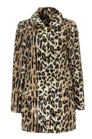 Stone Leopard Print Funnel Coat - style: single breasted; length: mid thigh; predominant colour: camel; secondary colour: black; occasions: evening, creative work; fit: straight cut (boxy); fibres: acrylic - 100%; collar: shirt collar/peter pan/zip with opening; sleeve length: long sleeve; sleeve style: standard; texture group: fur; collar break: high; pattern type: fabric; pattern size: standard; pattern: animal print; season: a/w 2016; wardrobe: highlight; trends: opulent prints