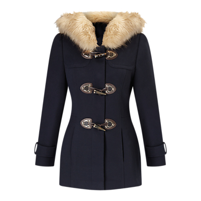 Petite Duffle Coat, Navy - pattern: plain; length: below the bottom; back detail: hood; style: duffle coat; predominant colour: navy; secondary colour: camel; occasions: casual, creative work; fit: tailored/fitted; fibres: wool - mix; sleeve length: long sleeve; sleeve style: standard; collar: fur; collar break: high; pattern type: fabric; texture group: other - bulky/heavy; embellishment: fur; season: a/w 2016; wardrobe: highlight