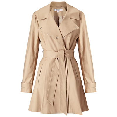 Petite Fitted Coat, Camel - pattern: plain; style: trench coat; length: mid thigh; predominant colour: ivory/cream; occasions: work, creative work; fit: tailored/fitted; fibres: cotton - mix; collar: shirt collar/peter pan/zip with opening; sleeve length: long sleeve; sleeve style: standard; texture group: technical outdoor fabrics; collar break: medium; pattern type: fabric; season: a/w 2016; wardrobe: highlight