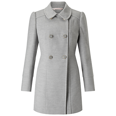 Petite Double Breasted Pea Coat - pattern: plain; length: below the bottom; style: double breasted; predominant colour: mid grey; occasions: work; fit: tailored/fitted; fibres: polyester/polyamide - stretch; collar: shirt collar/peter pan/zip with opening; sleeve length: long sleeve; sleeve style: standard; collar break: high; pattern type: fabric; texture group: woven bulky/heavy; wardrobe: investment; season: a/w 2016
