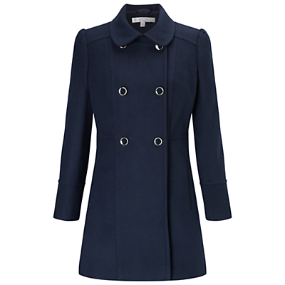 Petite Double Breasted Pea Coat - pattern: plain; length: below the bottom; style: double breasted; predominant colour: navy; occasions: casual, creative work; fit: tailored/fitted; fibres: polyester/polyamide - stretch; collar: shirt collar/peter pan/zip with opening; sleeve length: long sleeve; sleeve style: standard; collar break: high; pattern type: fabric; pattern size: standard; texture group: woven bulky/heavy; wardrobe: basic; season: a/w 2016